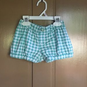 Toddler Girl Green & White Check Shorts.